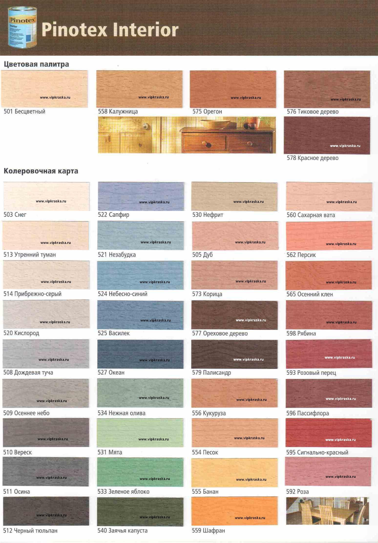 Цветовая гамма пинотекс интериор