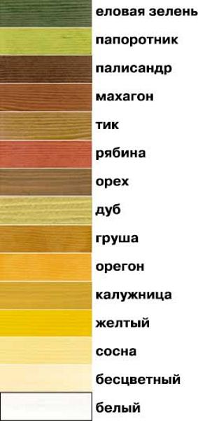 Таблица цветов Акватекс, цветовая гамма Акватекс
