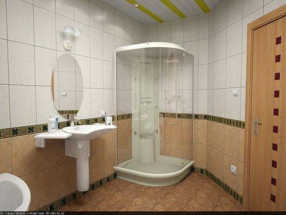 Ванная комната в деревянном доме 17